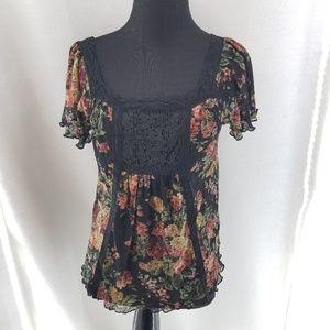 DENIM &SUPPLY Ralph Lauren Floral Black Top Sz XS